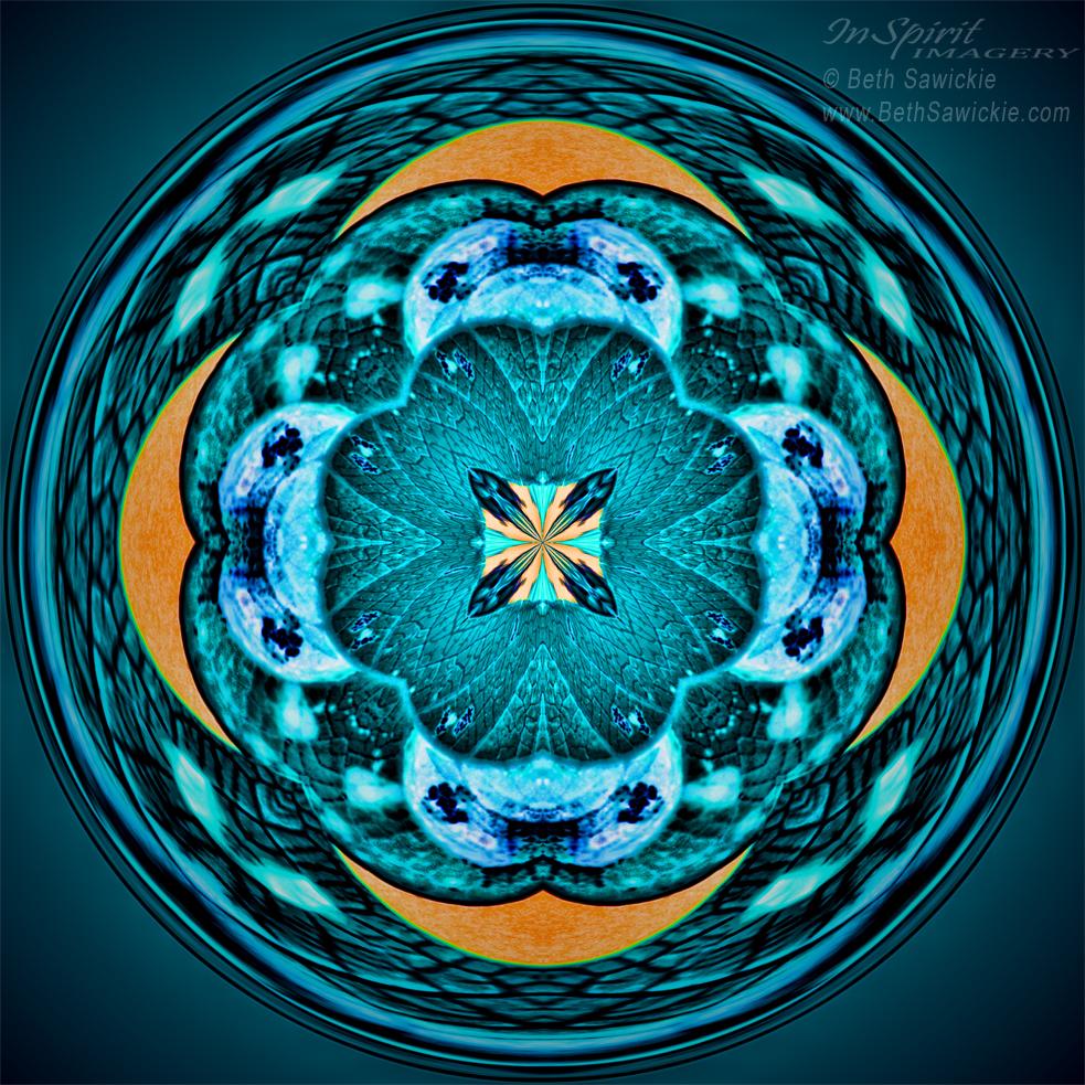 """Image by Beth Sawickie www.BethSawickie.com/blue-leaf-mandala """"Blue Leaf Mandala"""""""