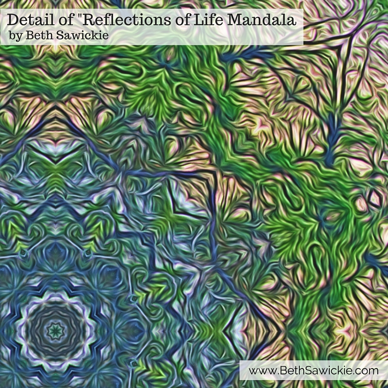 Detail of the reflections of life mandala from Beth Sawickie