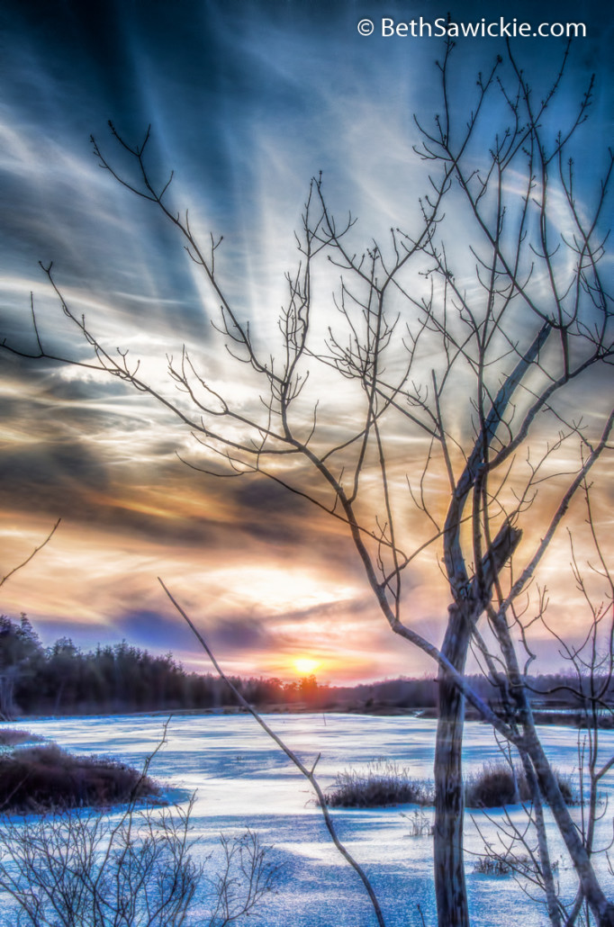 Frozen Winter Sunset by Beth Sawickie