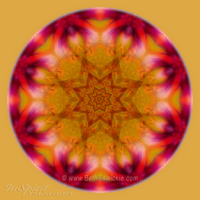 Orange Yellow Pink Mandala by Beth Sawickie http://www.BethSawickie.com