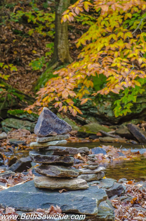 Cairn Zen Rock Piles at Ricketts Glen by Beth Sawickie http://bethsawickie.com/our-ricketts-glen-adventure