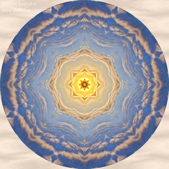 "Image by Beth Sawickie www.BethSawickie.com/sunlight-cloud-waves-mandala ""Sunlight Cloud Waves Mandala"""