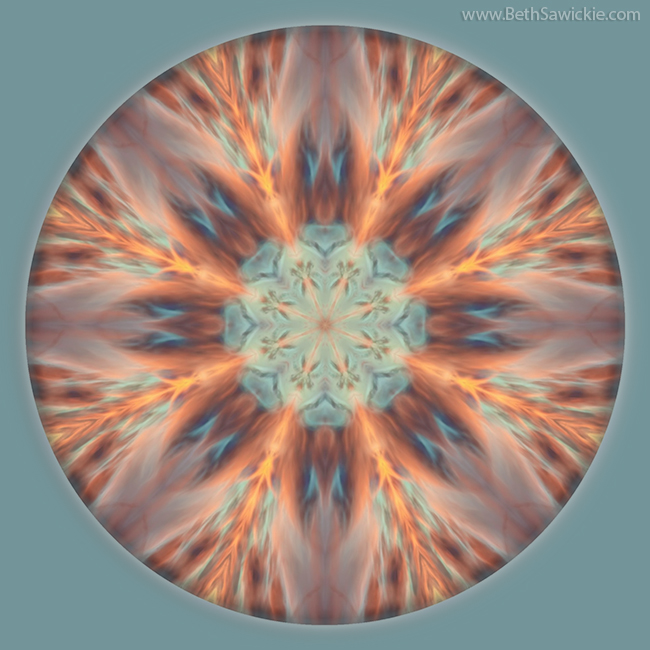 Sunset of Fire Mandala 1 by Beth Sawickie