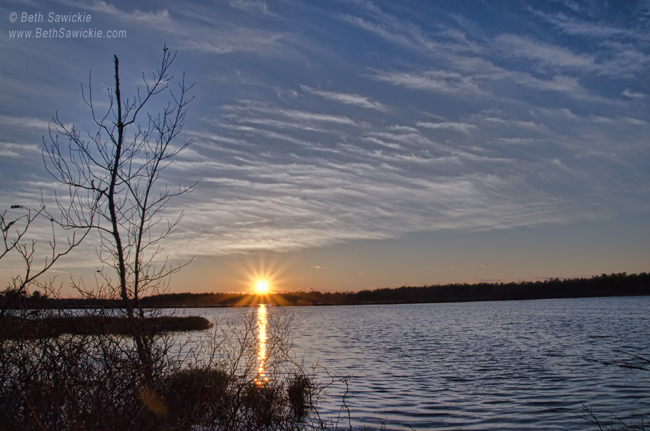 """Photo by Beth Sawickie www.BethSawickie.com/an-early-april-sunset-at-whitesbog-village  """"An Early April Sunset"""""""