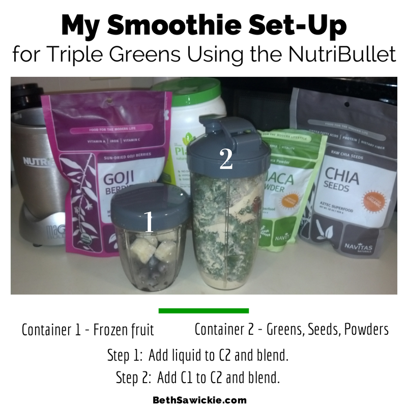Triple Greens in NutriBullet www.BethSawickie.com
