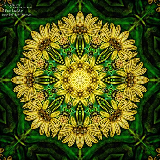 """Image by Beth Sawickie www.bethsawickie.com/yellow-green-flower-mandala """"Yellow Green Flower Mandala"""""""